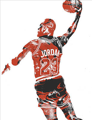 Michael Jordan Mixed Media - Michael Jordan Chicago Bulls Pixel Art 16 by Joe Hamilton