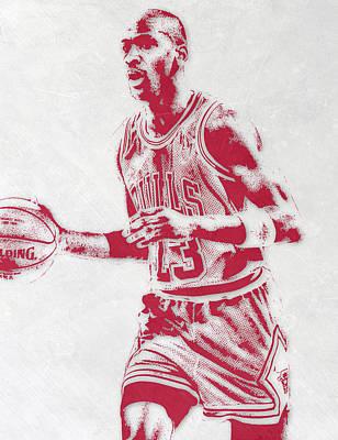 Michael Jordan Chicago Bulls Pixel Art 2 Art Print by Joe Hamilton