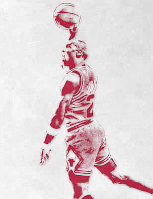 Michael Jordan Chicago Bulls Pixel Art 3 Print by Joe Hamilton