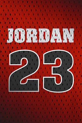Athletes Mixed Media - Michael Jordan Chicago Bulls Retro Vintage Jersey Closeup Graphic Design by Design Turnpike
