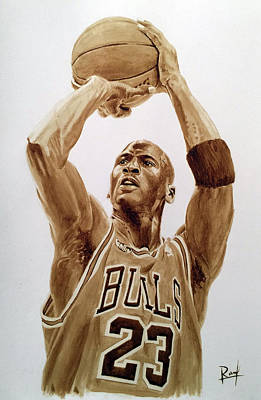 Michael Jordan Coffee Painting Original by Ross Angelo Mendoza
