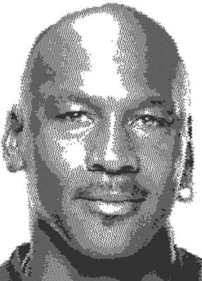 Athletes Royalty-Free and Rights-Managed Images - Michael Jordan - Cross Hatching by Samuel Majcen