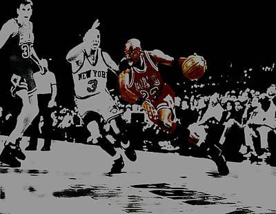John Stockton Digital Art - Michael Jordan Drive To The Basket by Brian Reaves