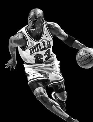 Jordan Digital Art - Michael Jordan Drives To The Basket by Daniel Hagerman