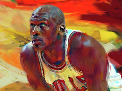 Basketball Abstract Painting - Michael Jordan by Francois Lyon