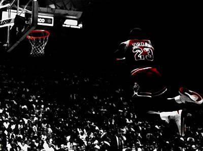 Mixed Media - Michael Jordan Gaining Altitude by Brian Reaves
