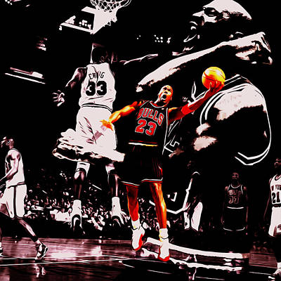 Ewing Mixed Media - Michael Jordan Going Left Hand by Brian Reaves