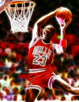 Athletes Digital Art - Michael Jordan Magical Dunk by Paul Van Scott