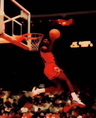 Michael Jordan Reverse Dunk Art Print