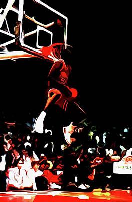 Michael Jordan Reverse Slam Dunk 2 Art Print by Brian Reaves