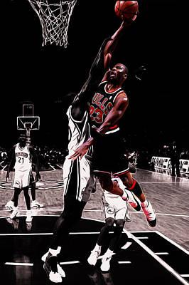 John Stockton Mixed Media - Michael Jordan Rises 1a by Brian Reaves