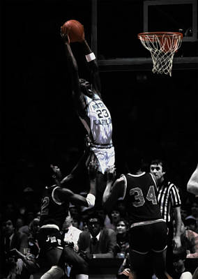 Mixed Media - Michael Jordan Rises As A Young Unc Tarheel by Brian Reaves