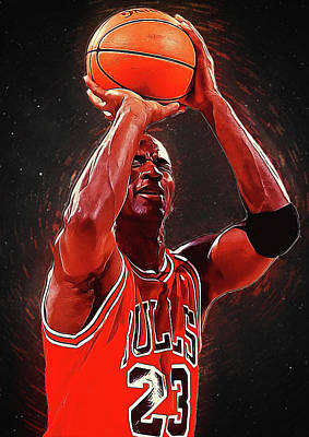 Larry Bird Digital Art - Michael Jordan by Semih Yurdabak