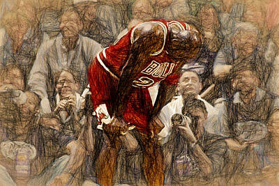 Basketball Players Painting - Michael Jordan The Flu Game by John Farr