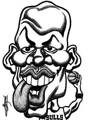 Chicago Bulls Drawing - Michael Jordan Tongue Out Caricature  by Miguel Romani