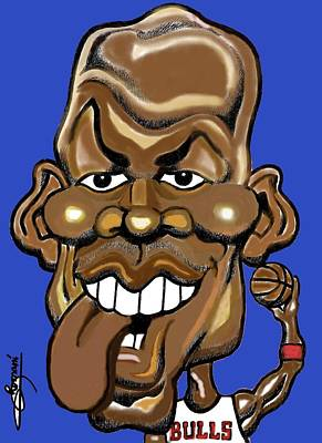 Chicago Bulls Drawing - Michael Jordan Tongue Out Color by Miguel Romani