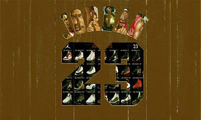 Patrick Ewing Mixed Media - Michael Jordan Wood Art 2k by Brian Reaves