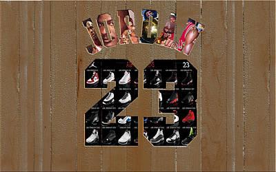 Patrick Ewing Mixed Media - Michael Jordan Wood Art 2m by Brian Reaves