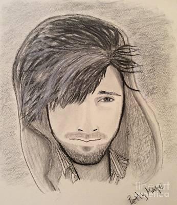 Windblown Drawing - Michael Kilbey-singer/songwriter by Betty Kaye