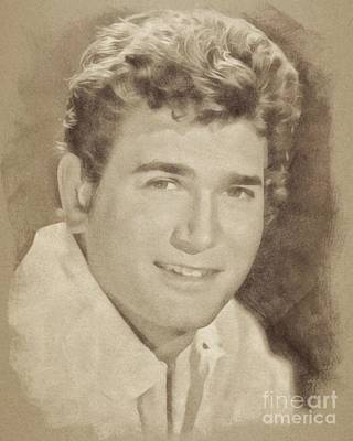 Musicians Drawings - Michael Landon, Vintage Actor by John Springfield by Esoterica Art Agency