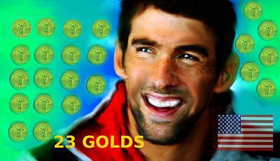Michael Phelps Raining 23 Golds Original by Enki Art