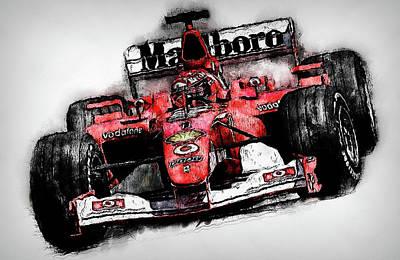 Painting - Michael Schumacher, Ferrari - 02 by Andrea Mazzocchetti