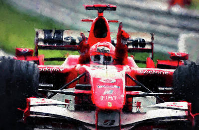 Painting - Michael Schumacher, Ferrari - 03 by Andrea Mazzocchetti
