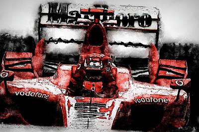 Painting - Michael Schumacher, Ferrari - 04 by Andrea Mazzocchetti