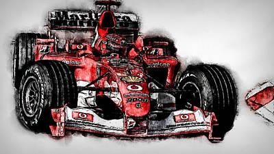 Painting - Michael Schumacher, Ferrari - 05 by Andrea Mazzocchetti