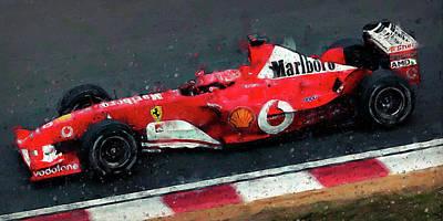 Painting - Michael Schumacher, Ferrari - 06  by Andrea Mazzocchetti