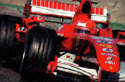 Painting - Michael Schumacher, Ferrari - 07 by Andrea Mazzocchetti