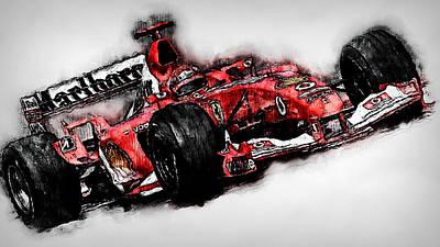 Painting - Michael Schumacher, Ferrari - 08  by Andrea Mazzocchetti