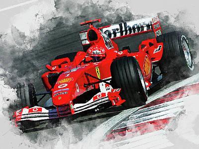 Painting - Michael Schumacher, Ferrari - 09 by Andrea Mazzocchetti