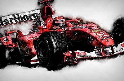 Painting - Michael Schumacher, Ferrari - 10 by Andrea Mazzocchetti