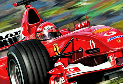Racing Car Digital Art - Michael Schumacher Ferrari by David Kyte