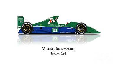 Jordan Drawing - Michael Schumacher - Jordan 191 by Jeremy Owen