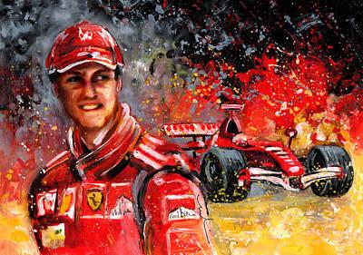 Sports Paintings - Michael schumacher by Miki De Goodaboom