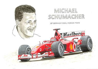 Formula One Drawing - Michael Schumacher On Ferrari by David Selucky