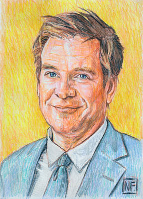 Ncis Drawing - Michael Weatherly by Neil Feigeles