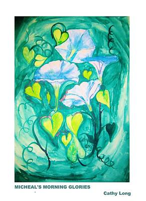 Painting - Micheal's Morning Glories by Cathy Long