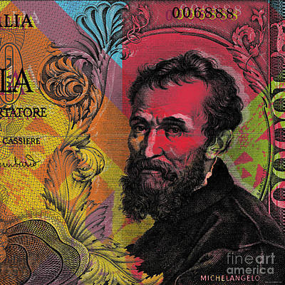 Digital Art - Michelangelo 10000 Lire Banknote Portrait by Jean luc Comperat
