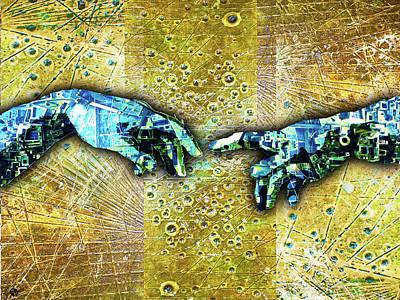 Mixed Media - Michelangelo's Creation Of Man by Tony Rubino
