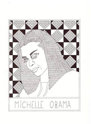 Michelle Obama Drawing - Michelle Obama by Benjamin Godard