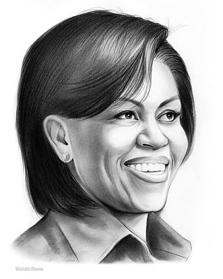 Marquette Drawing - Michelle Obama by Greg Joens