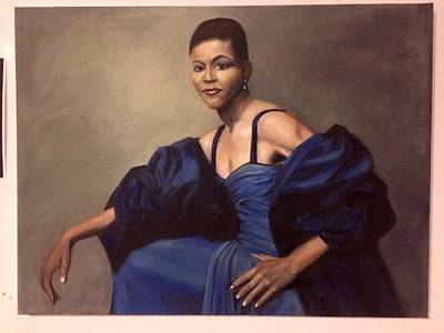 Michelle Obama Painting - Michelle Obama, Oil On Canvas, Blue Dress by C Brian Coulthard