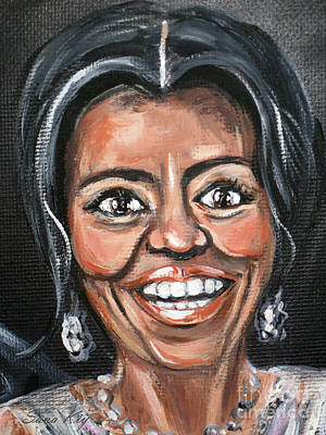 Painting - Michelle Obama. Portrait. Painting by Oksana Semenchenko