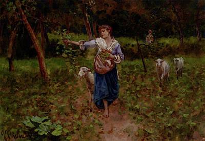 Michetti Francesco Paolo A Shepherdess In A Pastoral Landscape Art Print by Francesco Paolo Michetti
