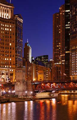 Schwartz Photograph - Michigan Avenue Bridge Reflections by Donald Schwartz