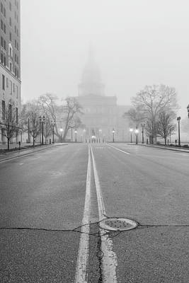 Photograph - Michigan Capitol Foggy Morning Michigan Ave by John McGraw