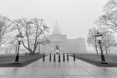 Photograph - Michigan Capitol Foggy Morning With Lights by John McGraw